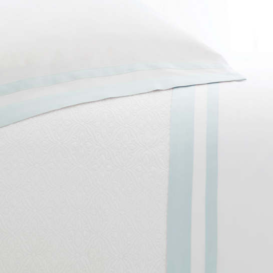 Piazza White/Pearl Blue Pillowcases