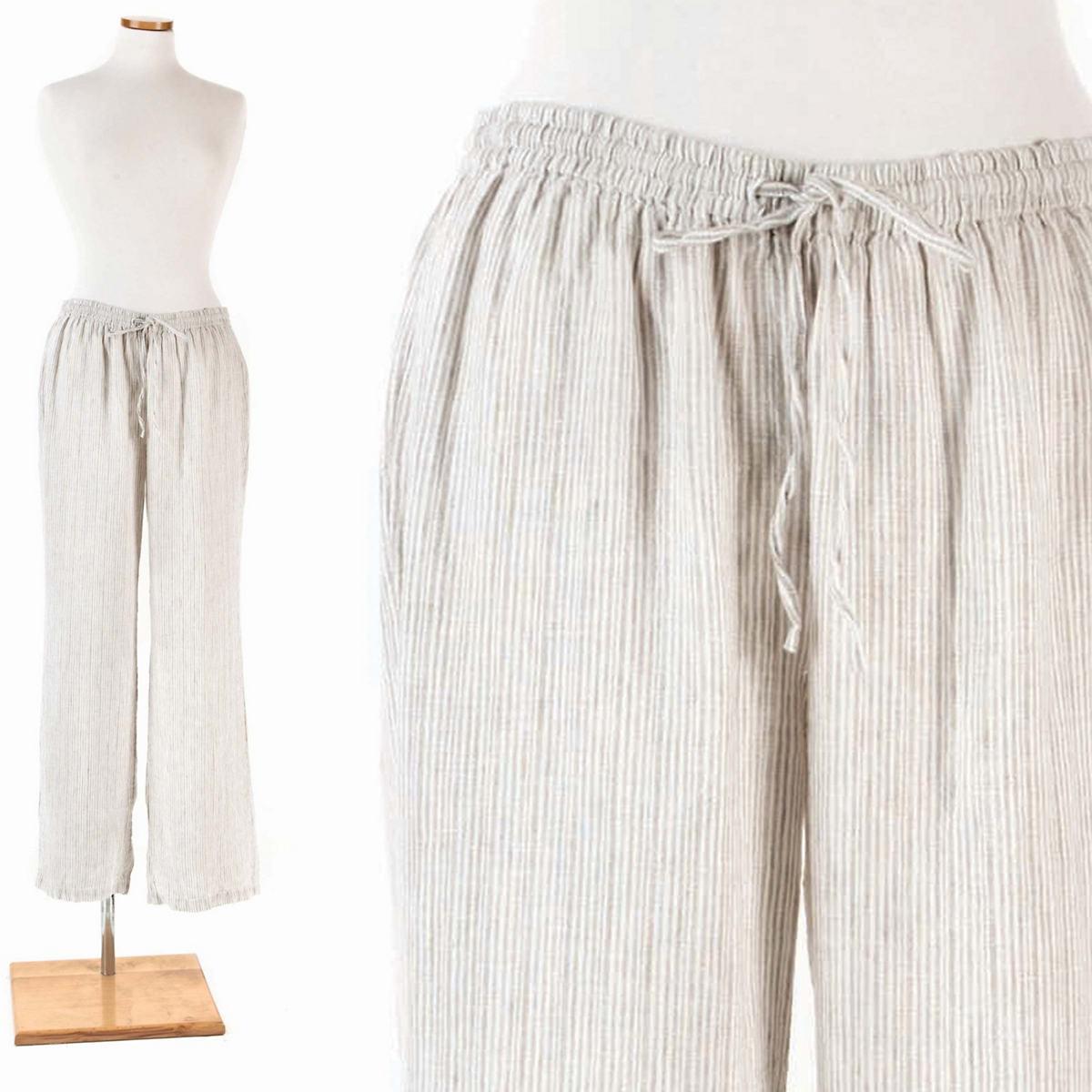 Pinstripe Linen Dove Grey Lounge Pant