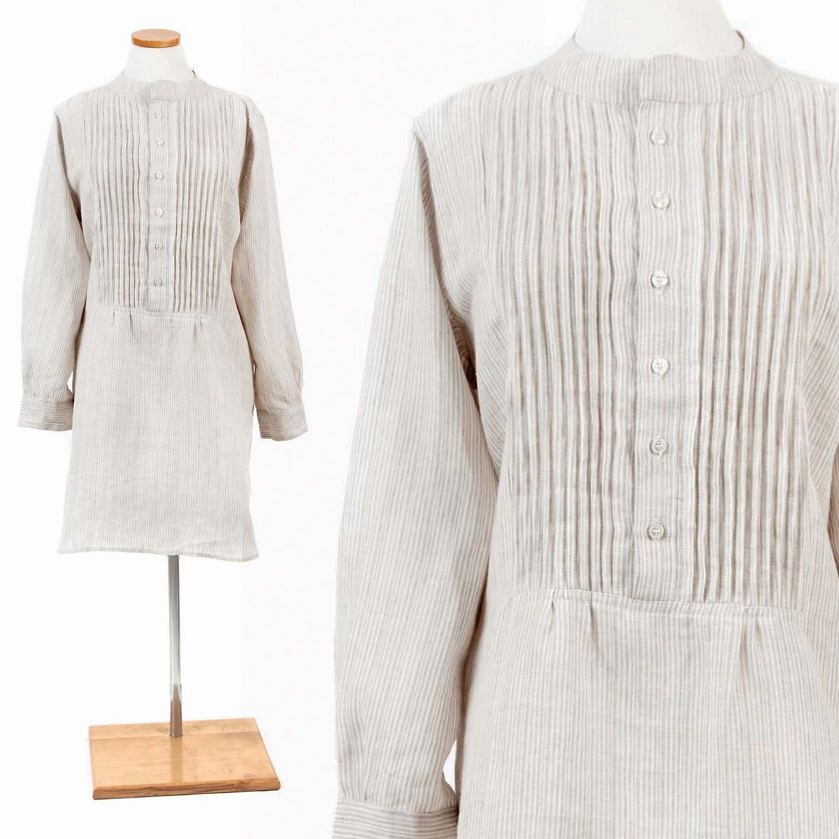 Pinstripe Linen Dove Grey Tunic