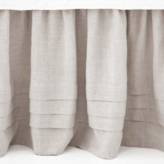 Pleated Linen Natural Bed Skirt