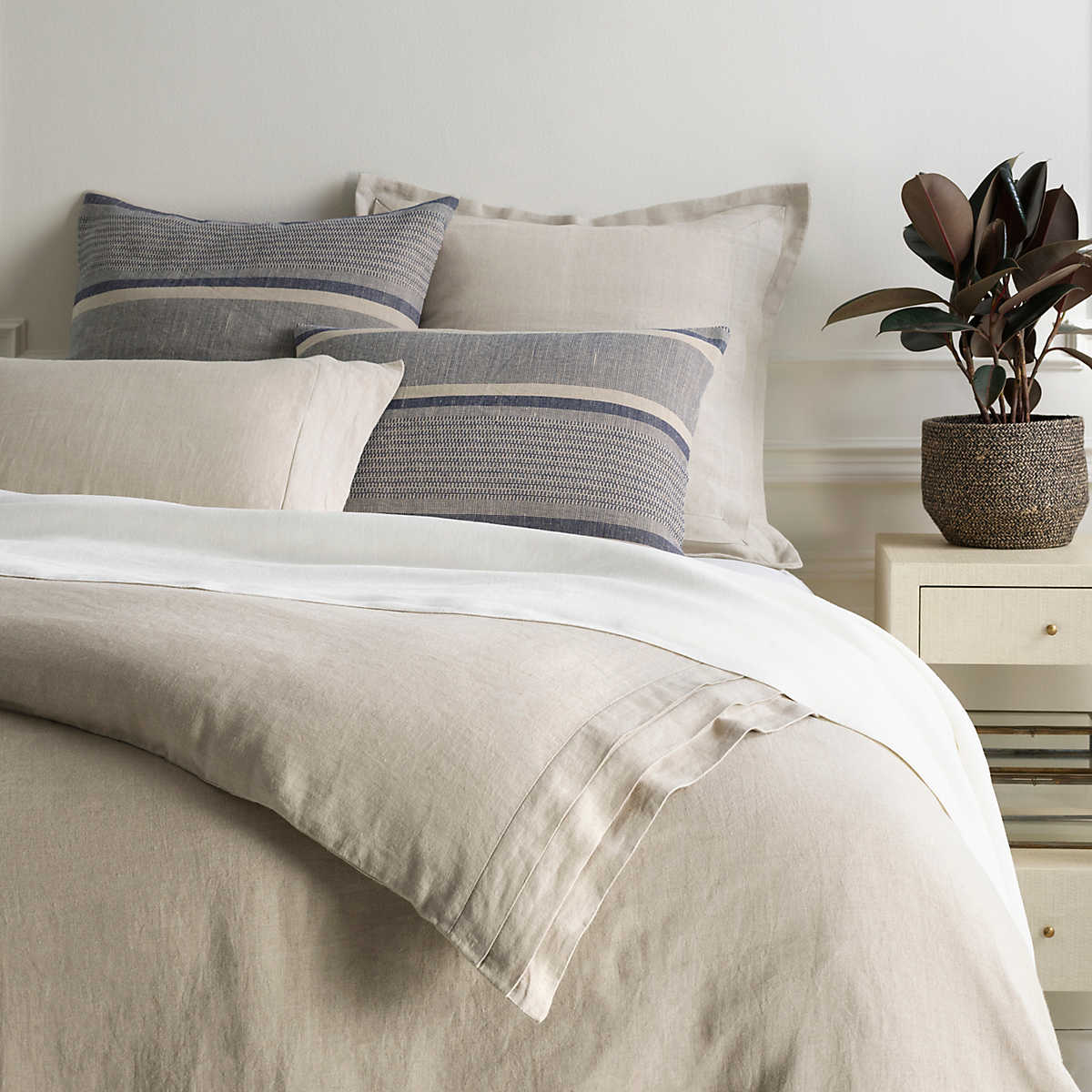 Pleated Linen Natural Duvet Cover Pine Cone Hill