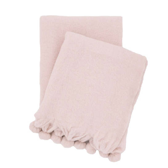 Pom Pom Slipper Pink Throw