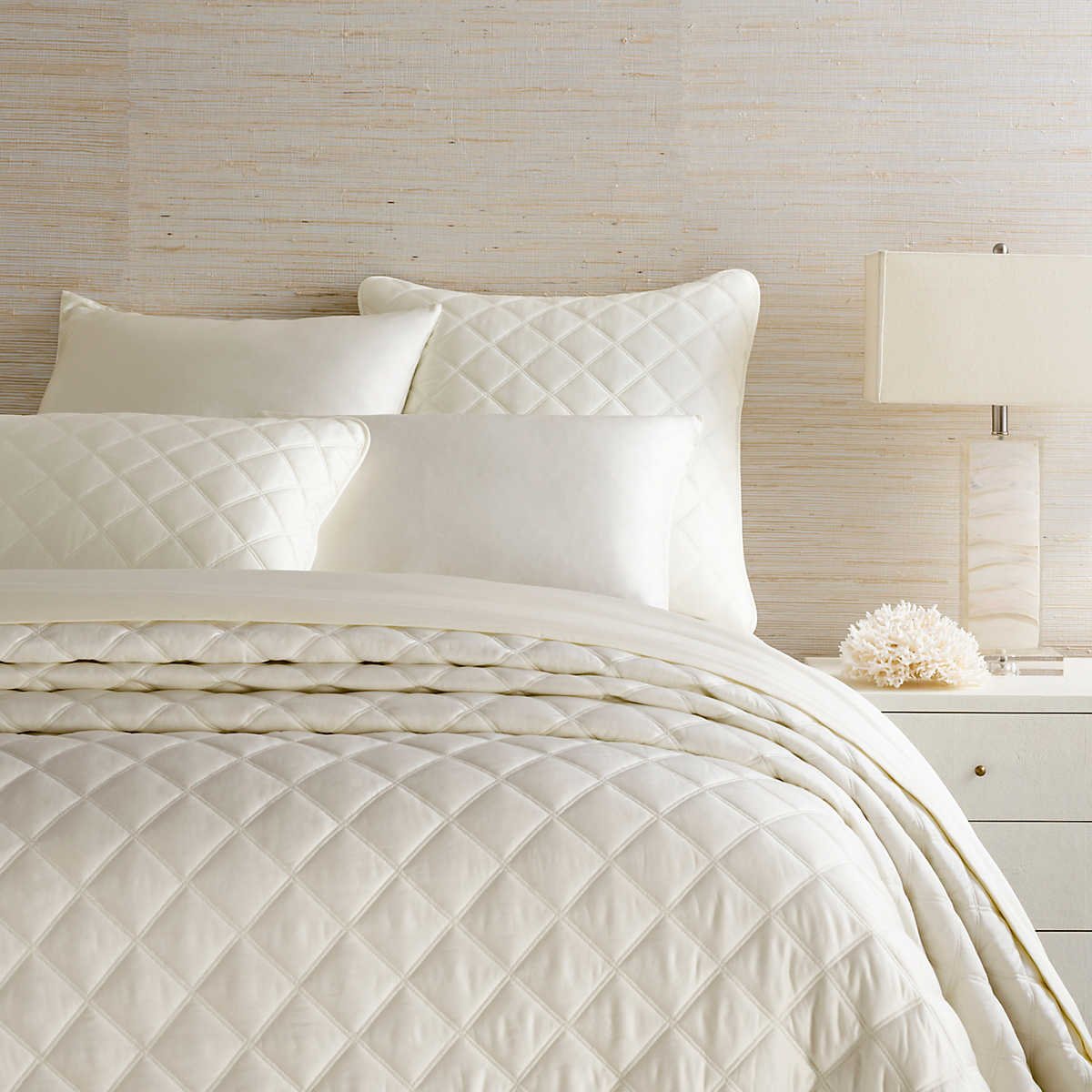 Quilted Silken Solid Ivory Coverlet Pine Cone Hill