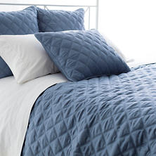 Quilted Silken Solid Storm Blue Coverlet