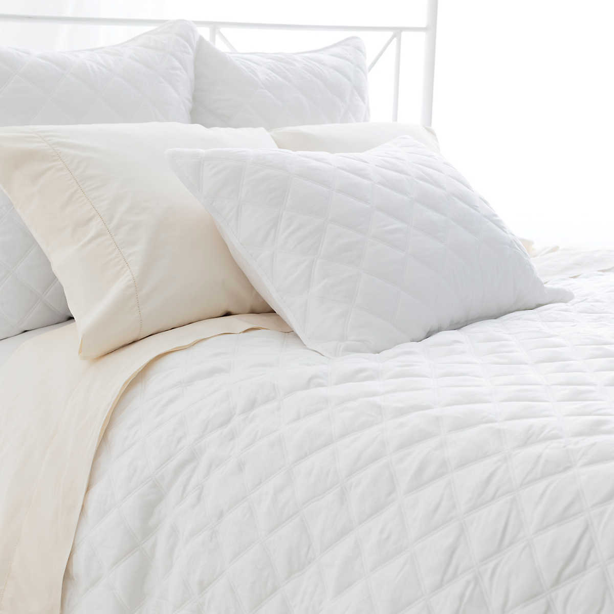 quilted silken solid white coverlet  pine cone hill -