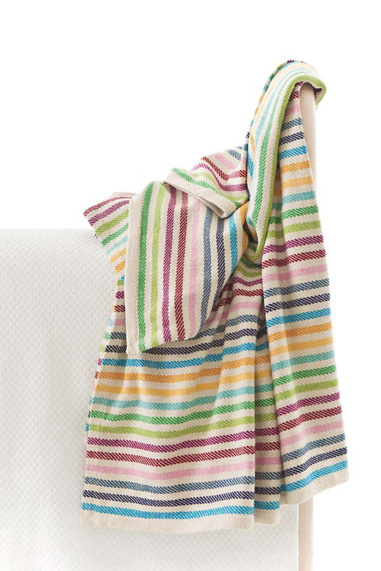 Rainbow Stripe Woven Cotton Throw
