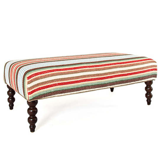 Ranch Stripe Turned Leg Rug Ottoman