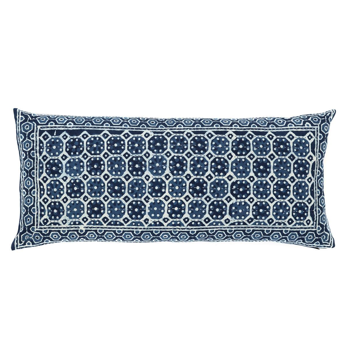 resist octagon indigo decorative pillow