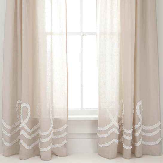 Ruched Linen Platinum/White Window Panel
