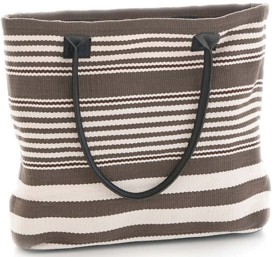 Rugby Stripe Charcoal Indoor/Outdoor Tote Bag