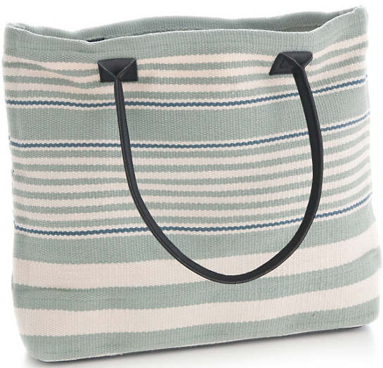 Rugby Stripe Light Blue Indoor/Outdoor Tote Bag