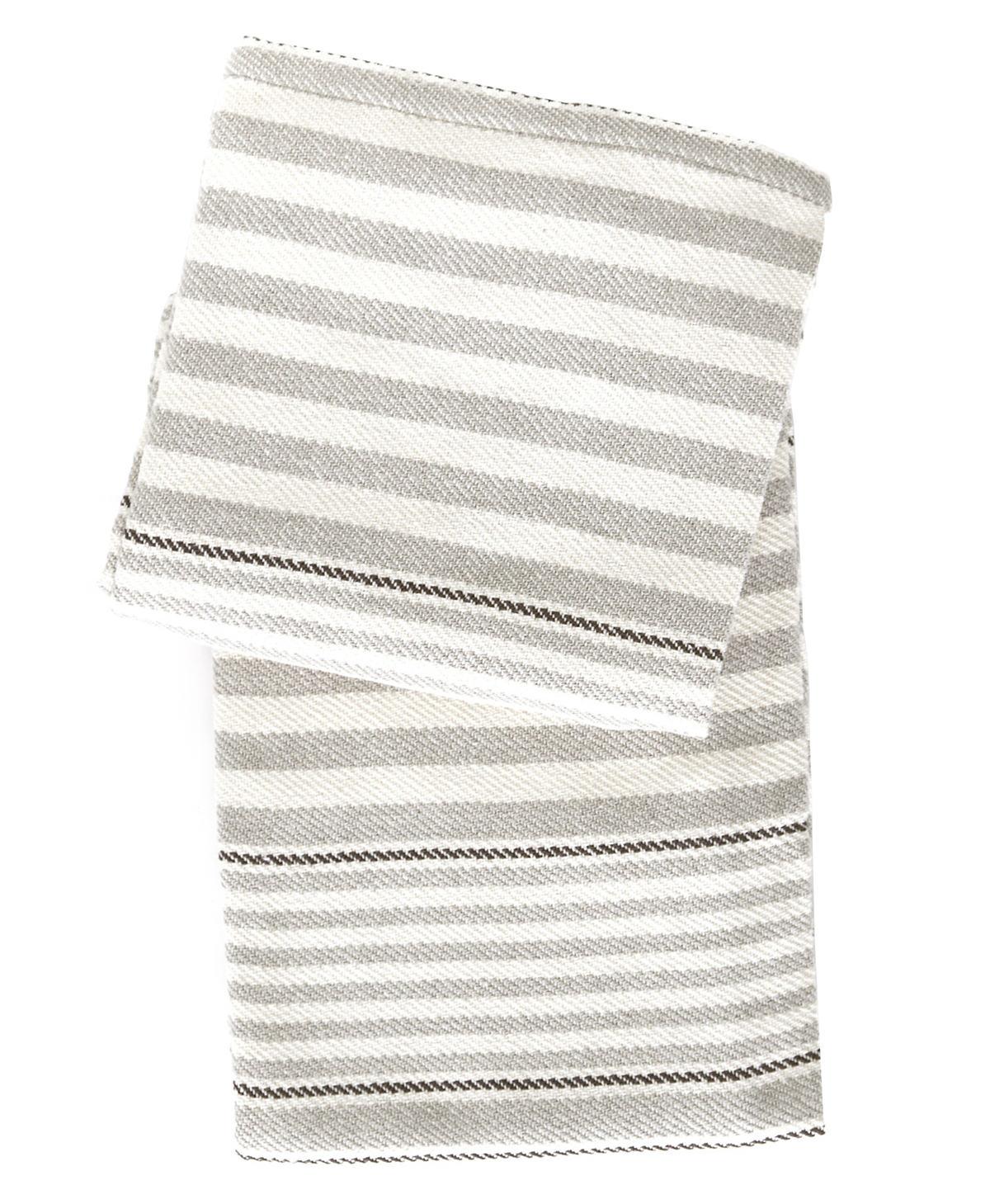 Rugby stripe platinum woven cotton throw dash albert for Dash and albert blanket