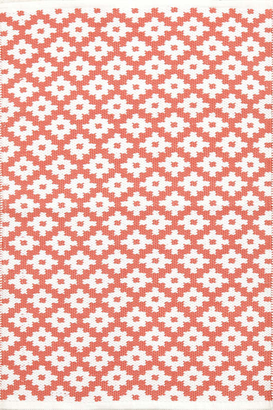 Samode Coral/White Indoor/Outdoor Rug