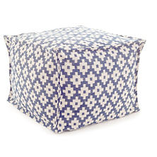 Samode Denim/Ivory Indoor/Outdoor Pouf