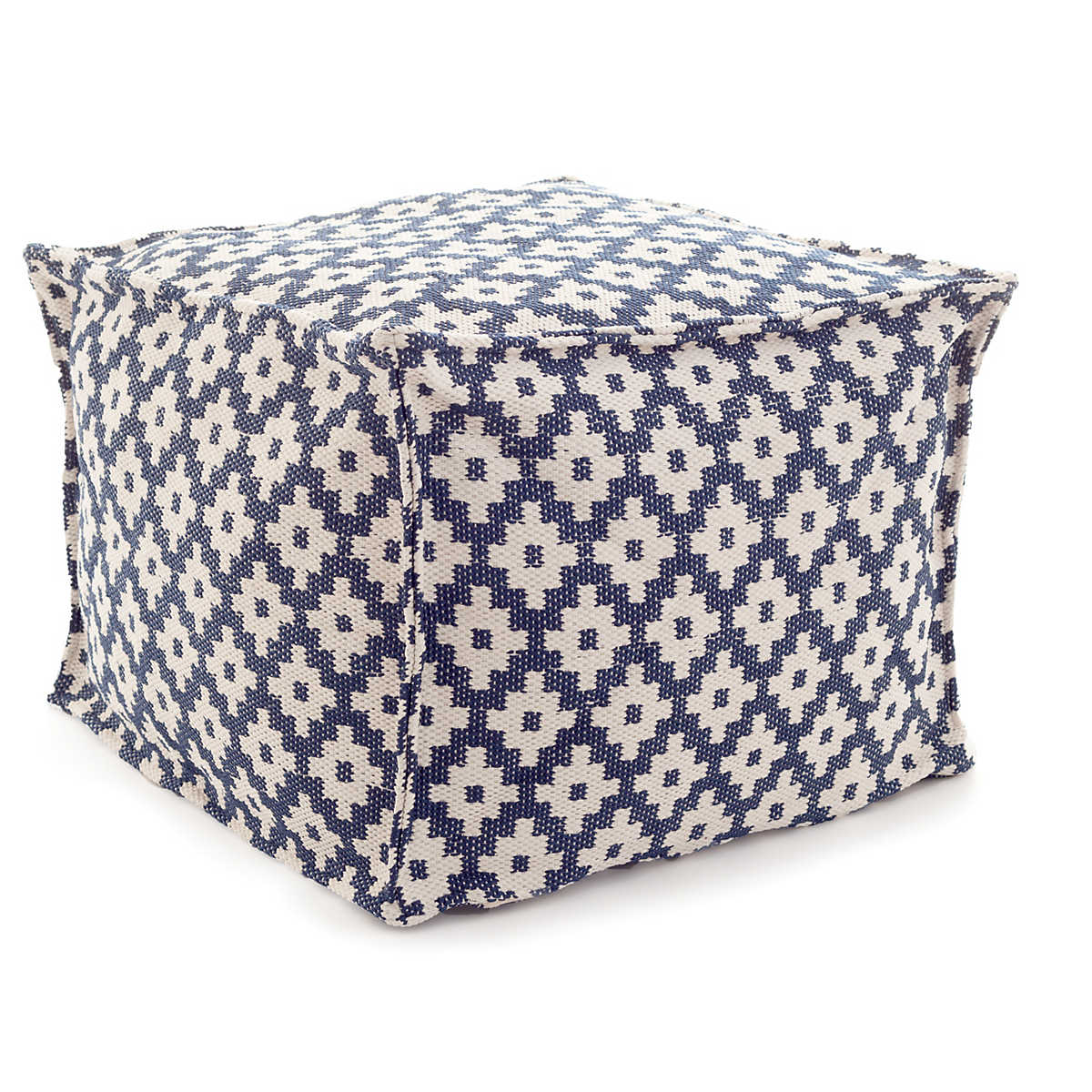 Samode Navy Ivory Indoor Outdoor Pouf Fresh American