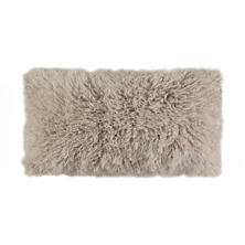 Sand Longwool Curly Sheepskin Decorative Pillow