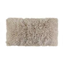 Sand Longwool Curly Sheepskin Decorative Pillow