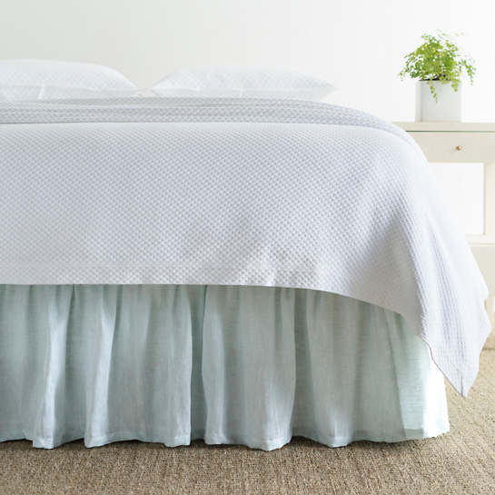 Savannah Linen Chambray Sky Bed Skirt
