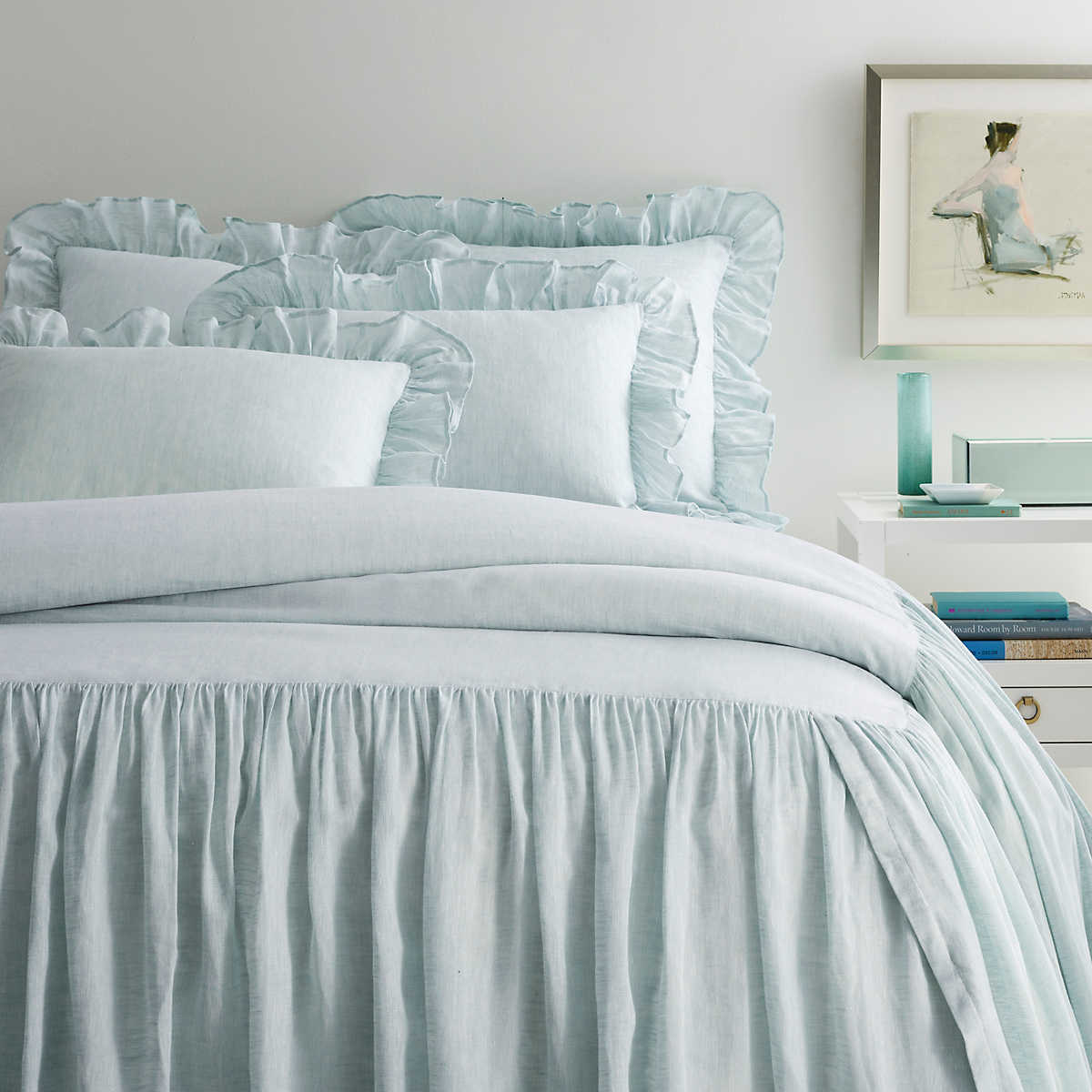 Savannah Linen Chambray Sky Bedspread Pine Cone Hill