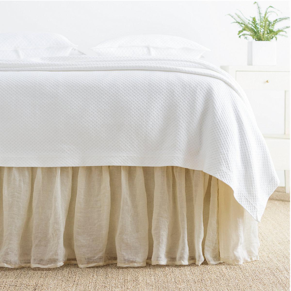 Bed Skirt Saved Crochet Edge Scalloped Cotton Bed Skirt