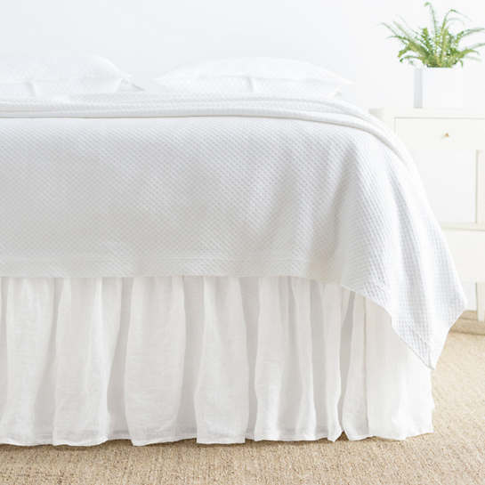 Savannah Linen Gauze White Bed Skirt