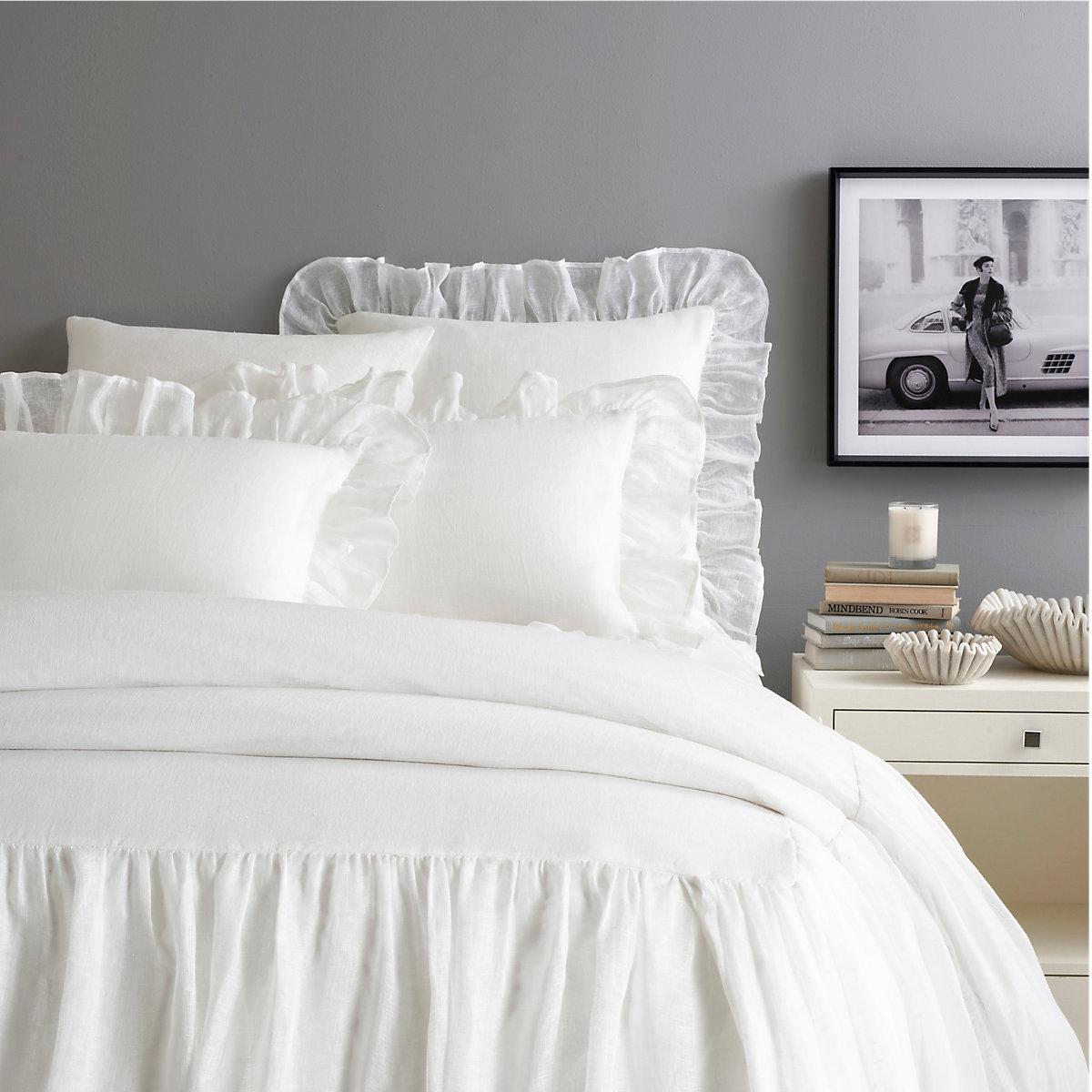 Savannah Linen Gauze White Bedspread Pine Cone Hill