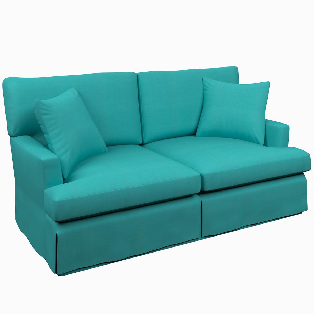 Estate Linen Turquoise Saybrook 2 Seater Slipcovered Sofa Furniture