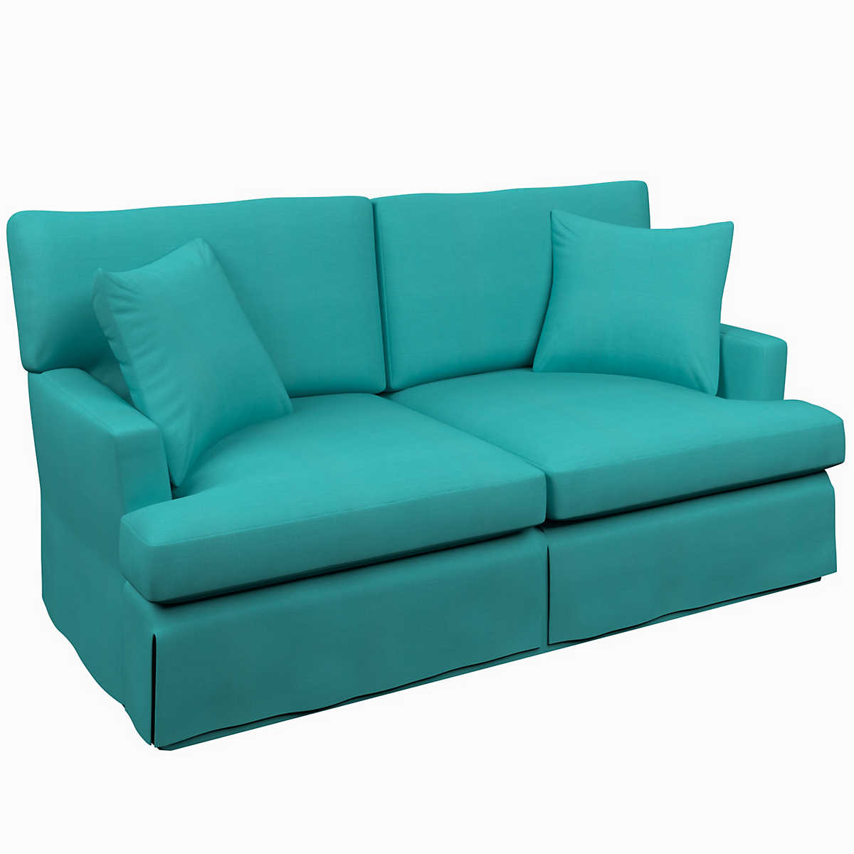 Estate Linen Turquoise Saybrook 2 Seater Slipcovered Sofa Furniture
