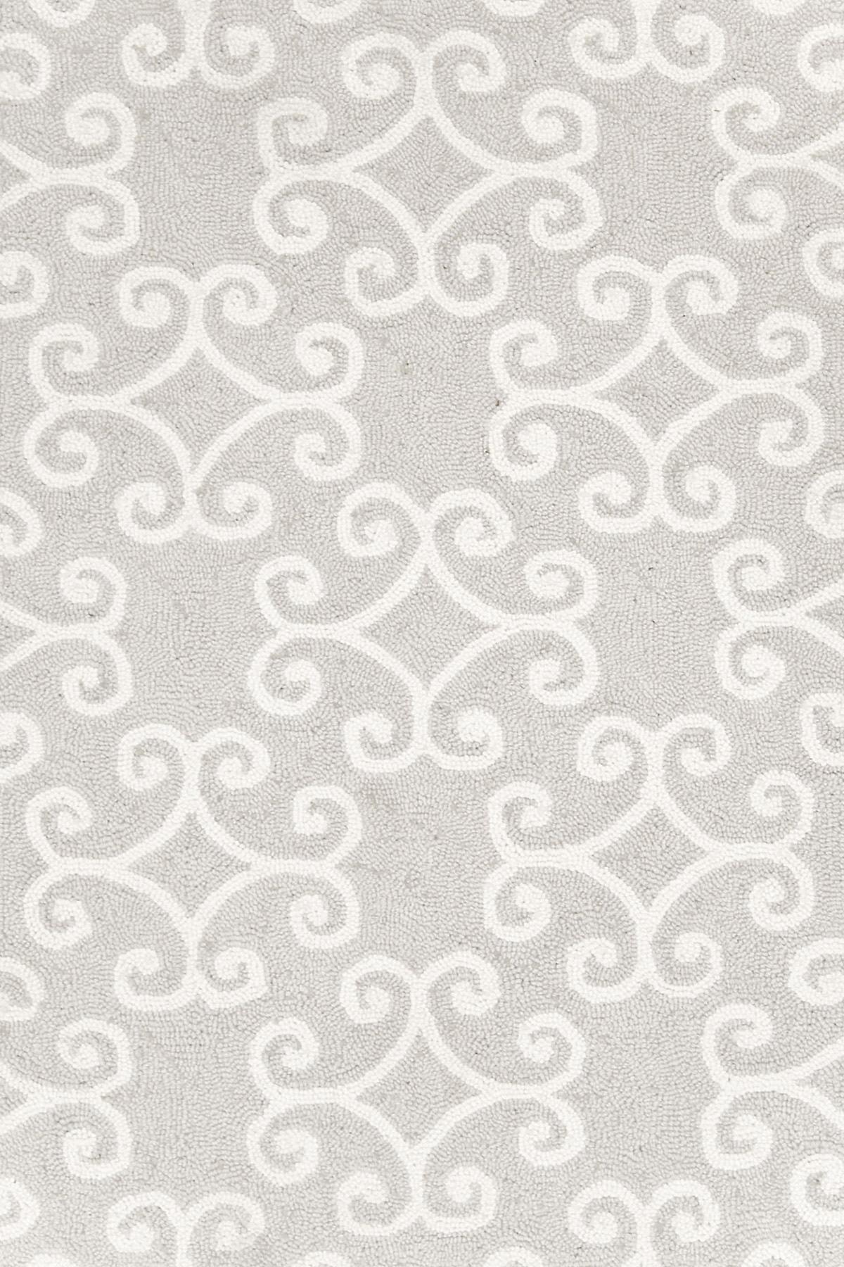 Scroll Platinum Wool Micro Hooked Rug
