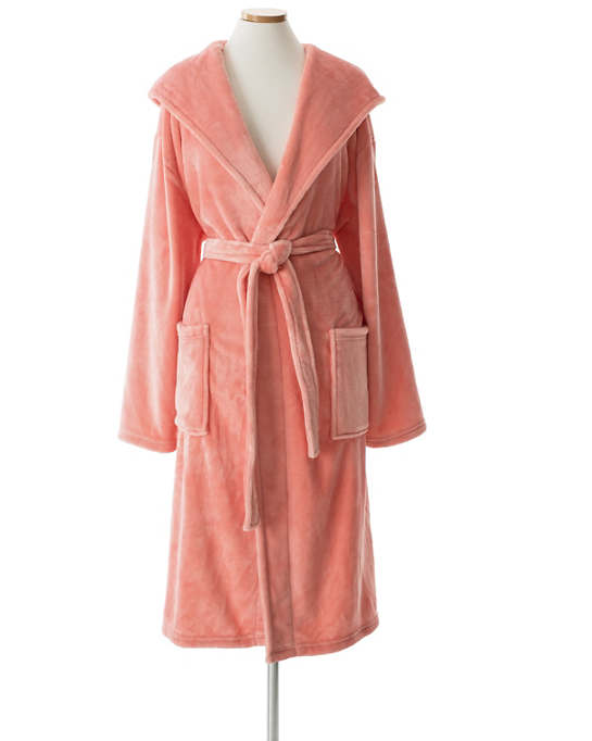 Selke Fleece Coral Hooded Robe