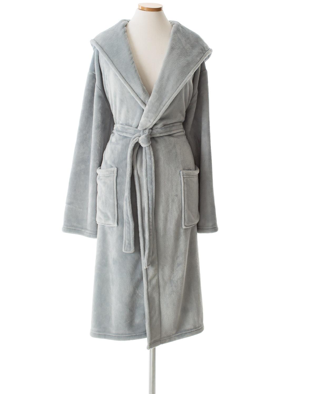 Selke Fleece Dusty Blue Hooded Robe