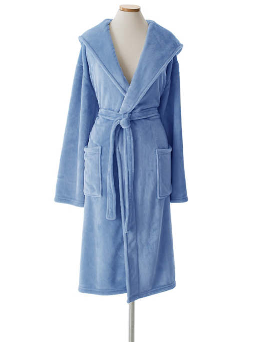 Selke Fleece French Blue Hooded Robe