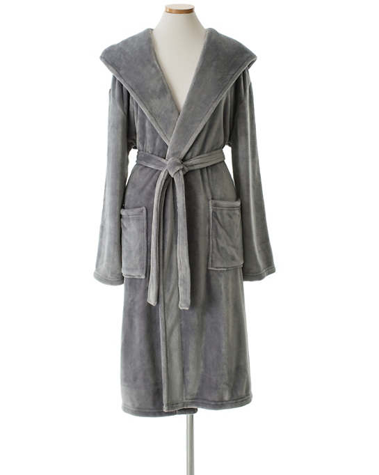 Selke Fleece Greylac Hooded Robe