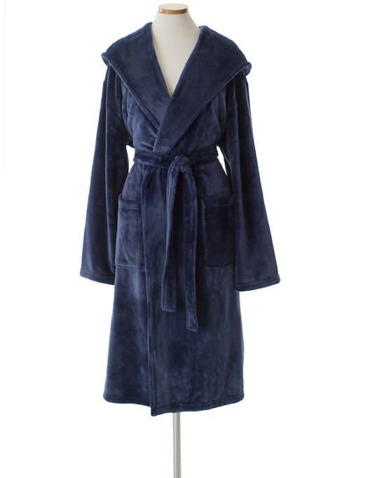 Selke Fleece Indigo Hooded Robe