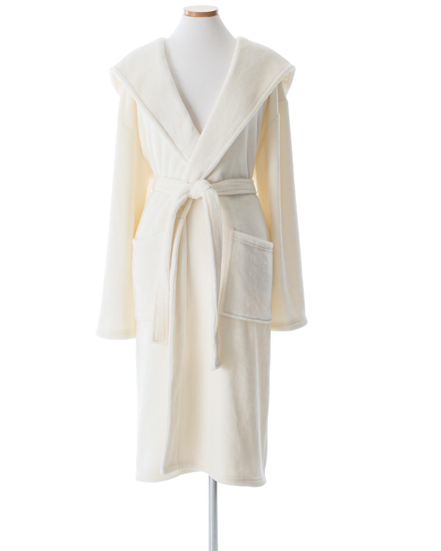 Selke Fleece Ivory Hooded Robe