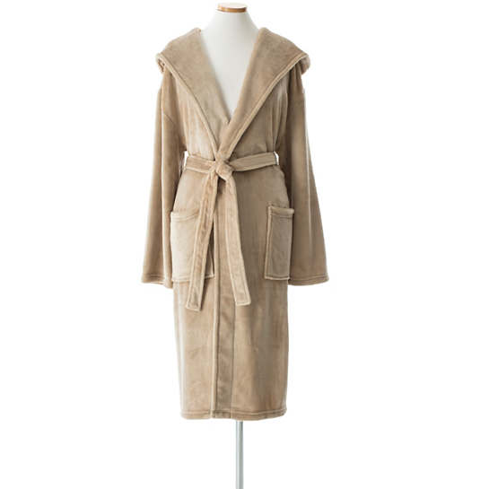 Selke Fleece Linen Hooded Robe