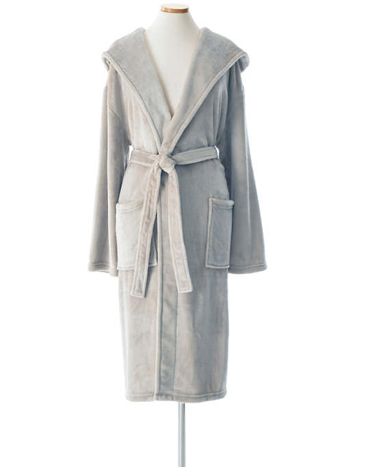 Selke Fleece Pearl Grey Hooded Robe