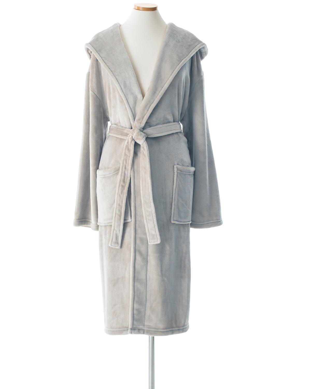 Selke Fleece Pearl Grey Hooded Robe