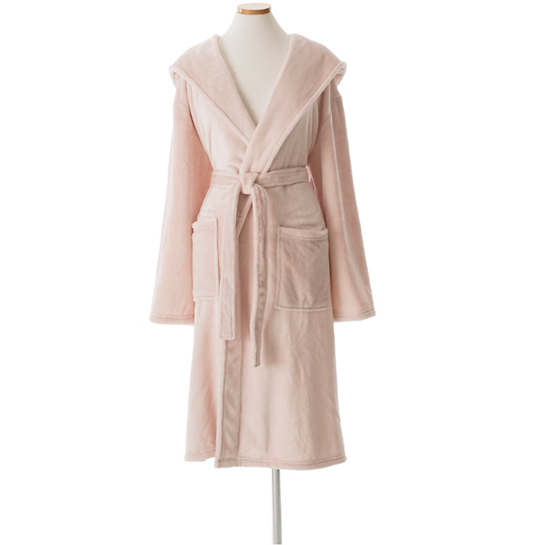 Selke Fleece Slipper Pink Hooded Robe