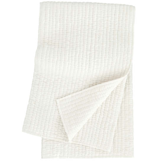 Seta White Quilted Throw