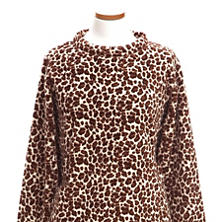 Sheepy Fleece Leopard Chocolate Top