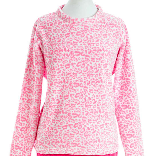 Sheepy Fleece Leopard Peony Top