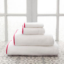 Signature Banded White/Red Towel