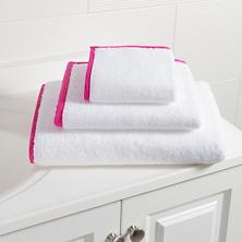 Signature Banded White/Fuchsia Towel