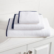 Signature Banded White/Indigo Towel