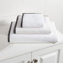 Signature Banded White/Shale Towel