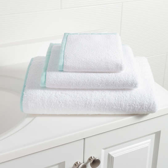 Signature Banded White/Sky Towel