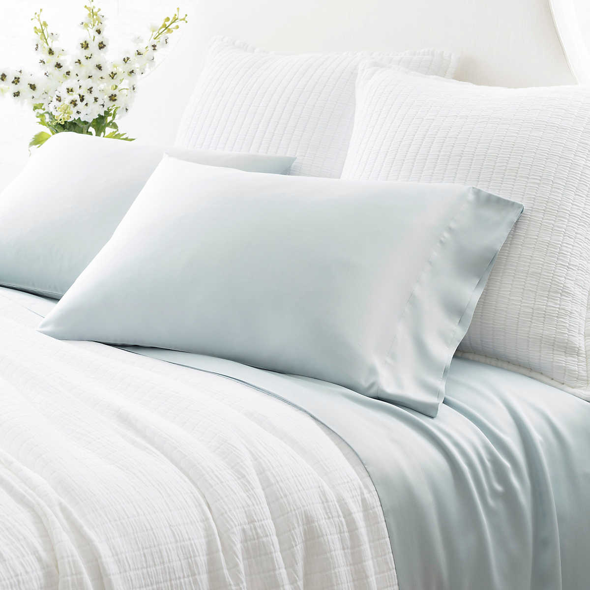 Silken Solid Robin S Egg Blue Sheet Set Pine Cone Hill