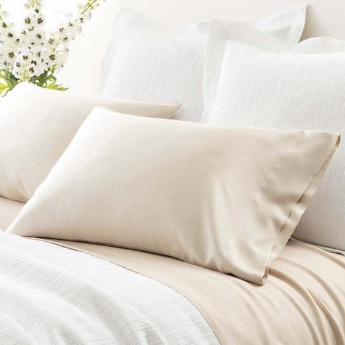 Silken Solid Sand Pillowcases (Pair)