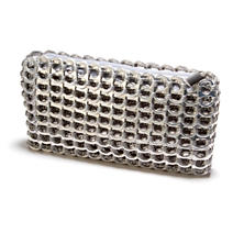 Silver Modern Chain Mail Mini Clutch